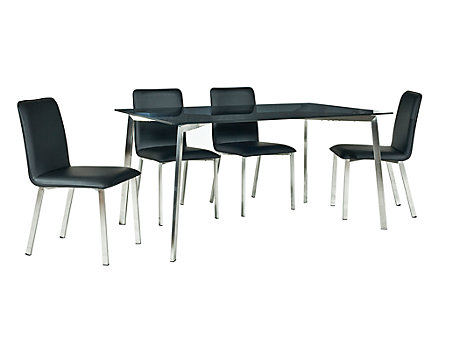 Jayden Dining Table & 4 Black/Chrome Chairs