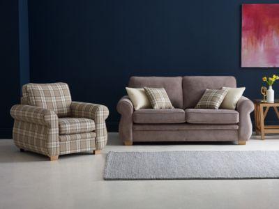 3 Seater Sofa Fabric, Brown - Harveys Evie Graceland - Taupe Express Fabric