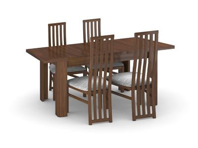 Hampshire Dark Large Extending Dining Table & 4 Tall Wooden Chairs
