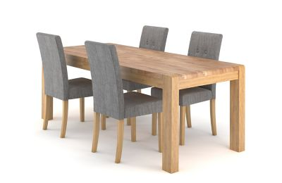 Cargo Portsmore Extending Dining Table & 4 Grey Lucy Chairs