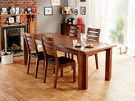 Claremount Dark Extending Dining Table & 4 Solid Wood Chairs