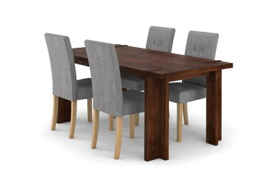 Claremount Dark Extending Dining Table & 4 Grey Lucy Chairs