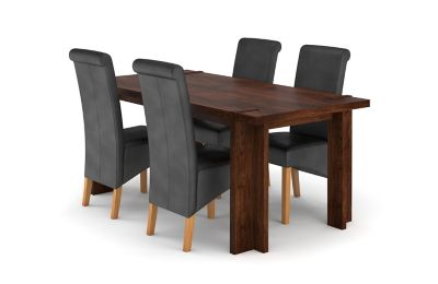 Claremount Dark Extending Dining Table & 4 Darcy Chairs