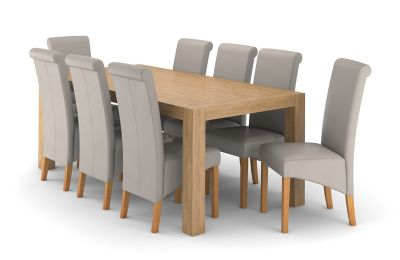Wooden Dining Table Set Rectangular & 8 Darcy Chairs In Matt Taupe Lindos  Harveys