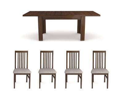 Hampshire Dark Extending Dining Table & 6 Wooden Chairs