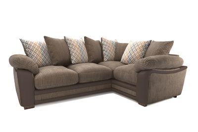 Harveys Featherby Left Hand Facing Pillowback Corner Sofa Group - Express Jumbo Cord/ Snake/ Geo Flower