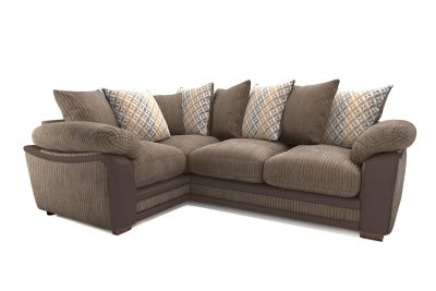Harveys Featherby Right Hand Facing Pillowback Corner Sofa Group - Express Jumbo Cord/ Snake/ Geo Flower