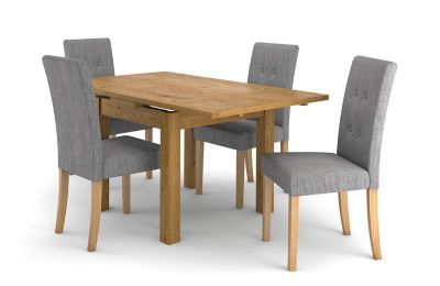 Square Extending Dining Table 4 Grey Lucy Chairs