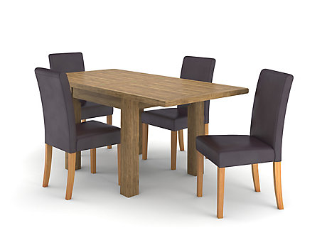 Toulouse Flip Top Extending Dining Table 4 Taya Chairs