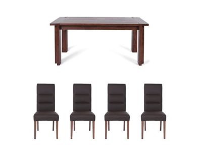 Claremount Dark Extending Dining Table & 4 Piston Chairs
