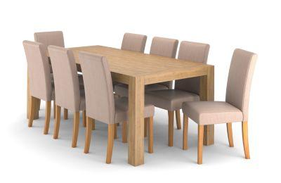 Wooden Dining Table Set Rectangular & 6 Linen Fabric Taya Chairs Lindos  Harveys