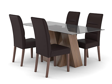 Piston Dining Table & 4 Piston Chairs