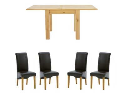 Dovetail Flip Top Extending Dining Table & 4 Darcy Chairs