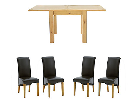 Dovetail Flip Top Extending Dining Table 4 Darcy Chairs