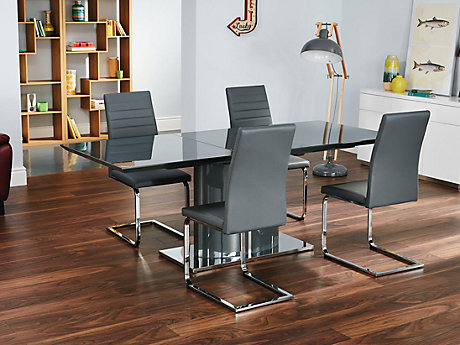 Ramira Grey Extending Dining Table & 4 Alcora Chairs