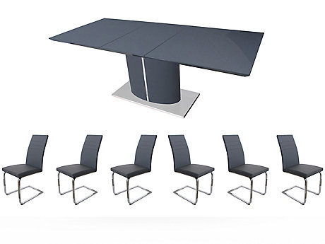 Ramira Grey Extending Dining Table & 6 Alcora Chairs