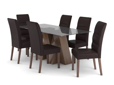 Piston Dining Table & 6 Piston Chairs