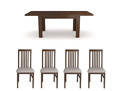 Hampshire Dark Large Extending Dining Table & 4 Wooden Chairs