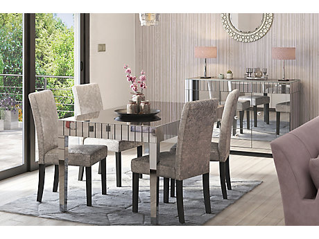 Lourdes Dining Table & 4 Darcy Glitz Edition Chairs