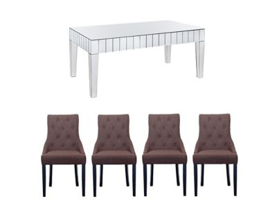 Lourdes Dining Table & 4 Keira Chairs