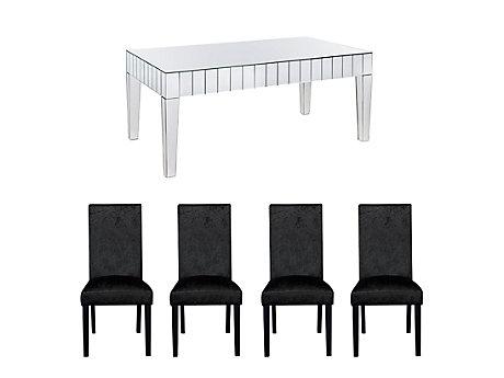 Lourdes Dining Table & 6 Georgia Glitz Edition Chairs