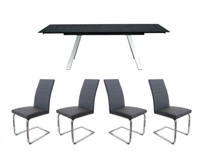 Romano Extending Dining Table & 4 Alcora Chairs