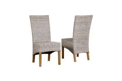 Harveys Brockenhurst Rattan Chairs solid oak