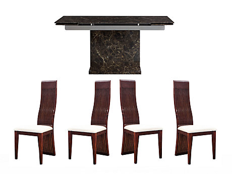 Pompeii Extending Dining Table & 4 Wooden Chairs