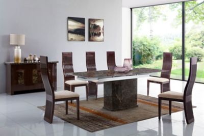 Pompeii Dining Table & 6 Wooden Chairs
