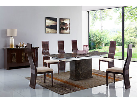 Pompeii Extending Dining Table & 6 Wooden Chairs