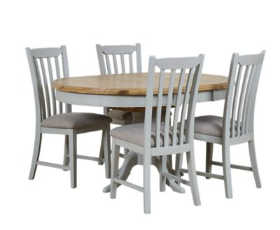 Brockenhurst Round Extending Dining Table And 6 Wooden Chairs