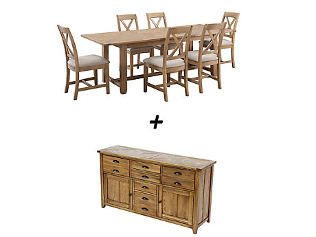 Orchard Rectangular Extending Dining Table & 6 Chairs + Sideboard Bundle