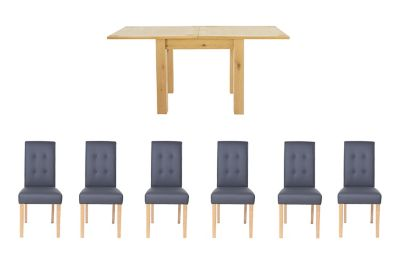 Harveys Dovetail Flip Top Dining table & 6 Lucy Chairs in Grey Leather Effect 6 lucy grey pu chairs, Table Shape: Rectangular