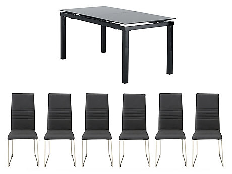 Noir Extending Dining Table & 6 Nova Chairs