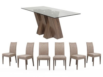 Piston Table & 6 Brown Fabric Chairs