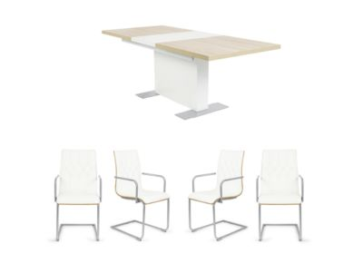 Extending Dining Table & 6 Carver Chairs in White - Harveys Vieux