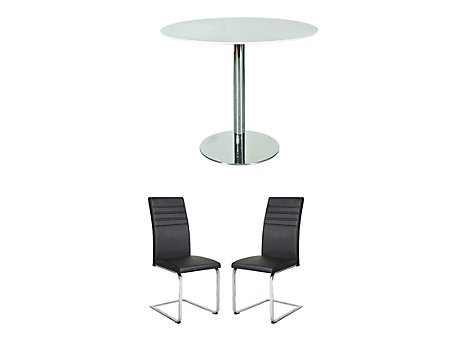 Ezra Dining Table & 2 Alcora Chairs