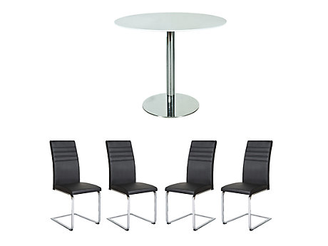 Ezra Dining Table & 4 Alcora Chairs