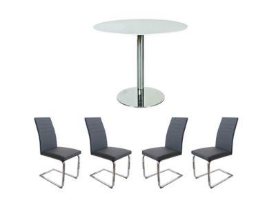 Round Dining Table & 4 Grey Alcora Chairs - Harveys Ezra Dining Table