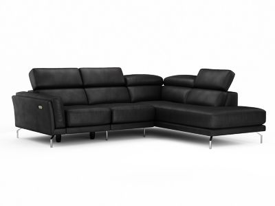 Leather Corner Sofa Group Right Hand Facing with Ratchet Headsets & Electric Incliner Action - Harveys Palucci