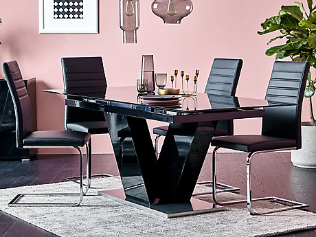 Nero Extending Dining Table 4 Alcora Chairs