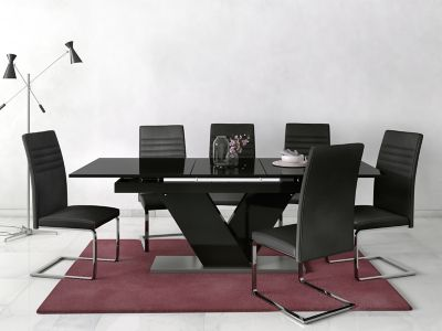 Nero Extending Dining Table & 6 Alcora Chairs