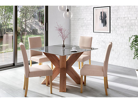 Neive Dining Table & 4 Taya Chairs