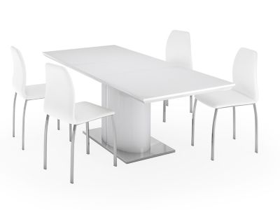 Ramira White Extending Dining Table & 4 Arlo Chairs