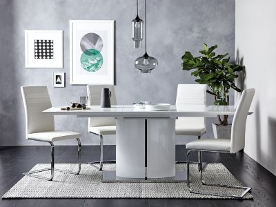 Ramira White Extending Dining Table & 4 Alcora Chairs
