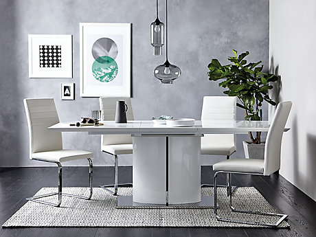 Ramira White Extending Dining Table 4 Alcora Chairs