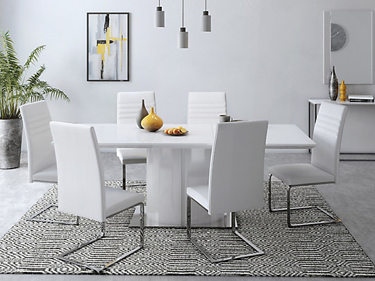 Ramira White Extending Dining Table 6 Alcora Chairs