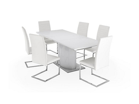 Ramira White Extending Dining Table & 6 Alcora Chairs