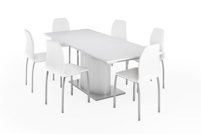 Ramira White Extending Dining Table & 6 Arlo Chairs