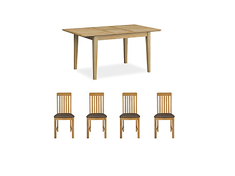Onslow Extending Dining Table & 4 Slatted Chairs